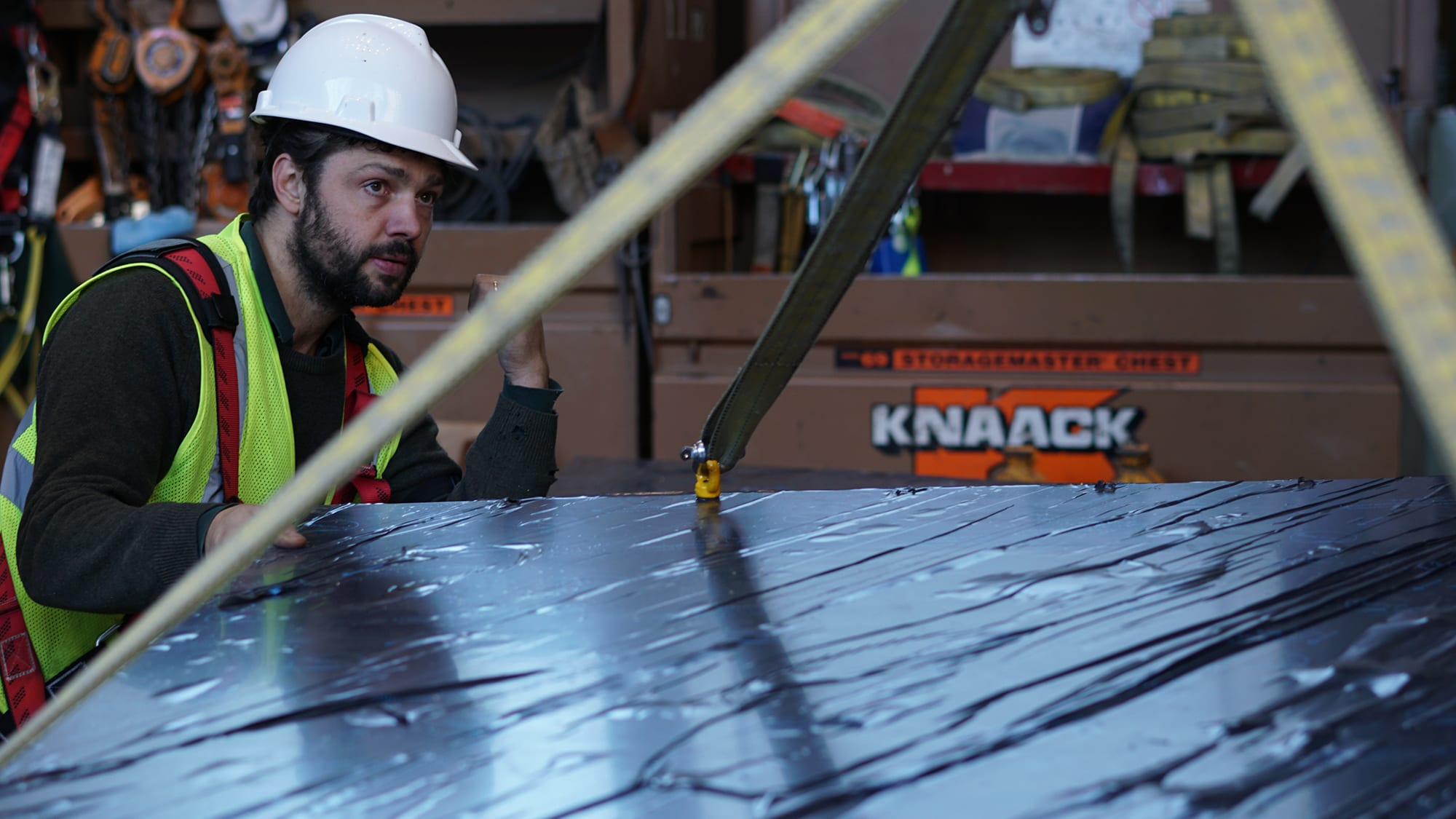 Conrad Shawcross installing artwork