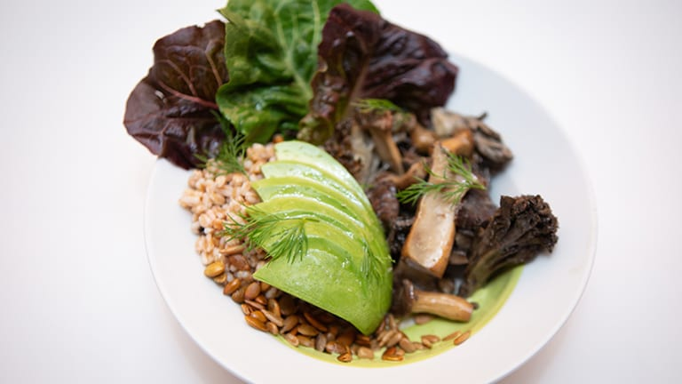 Plate of food with avocado, mushrooms and grains